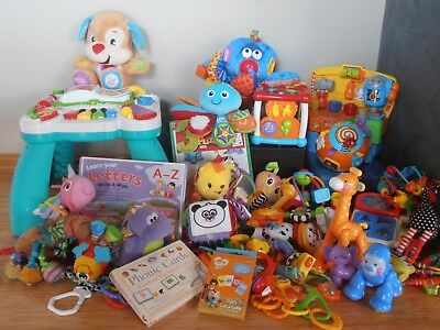 BULK LOT ~ over 30 Toys ~ Fisher Price, Lamaze, Vtech & Leap Frog Activity Table