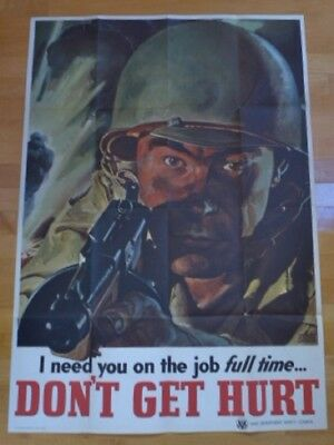 "Original WWII Color Poster Thompson ""Tommy"" Machine Gun"