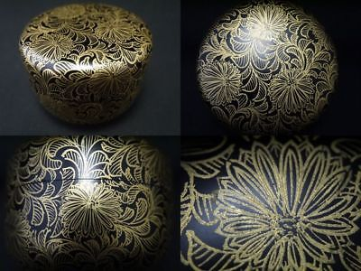 Japanese Lacquer Wooden Tea Caddy  Chrysanthemum makie Hira-Natsume  (801)