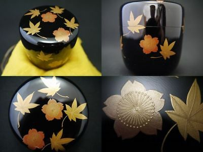Japanese WAJIMA Lacquer Wooden Tea Caddy Spring and Autumn makie Natsume  (801)