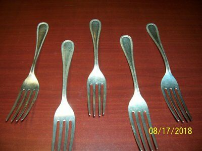 Frank W. Smith Lot of 5 Sterling Dinner Forks Bead Pattern  1917 7.125""
