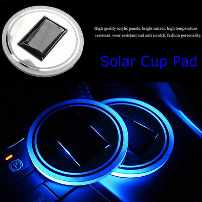 1pcs Solar Cup Pad LED Light Cover Interior Decoration Lights Car Accessories