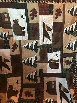 Machine Quilt Hand Pieced  Quilt Flying Geese Log Cabin Quilt