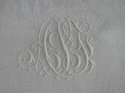 "Antique French Damask white linen set 11 napkins embroidered  monogram 30""x32"""