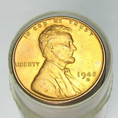 1942-D Lincoln Wheat Cents Original BU Roll of Uncirculated Pennies (50 Coins)