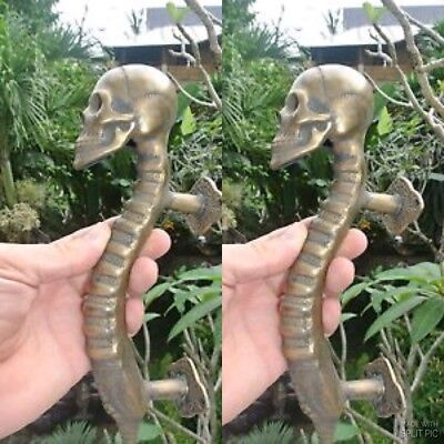 2 SKULL handle DOOR PULL spine solid BRASS CAST old style heavy aged 27cm long B