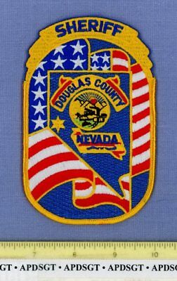 DOUGLAS COUNTY SHERIFF NEVADA Police Patch STATE SHAPE OUTLINE COLORFUL!!
