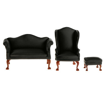1:12 Dollhouse Double Couch Sofa Wing Back Chair Ottoman Modern Furniture #3