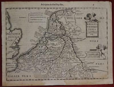 Netherlands Belgium Luxembourg 1636 Mercator/hondius Scarce Antique Engraved Map