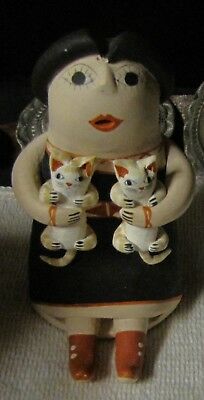 Vintage Storyteller Doll With 2 Cats Cochito Pueblo By Phyllis Nez    REDUCED