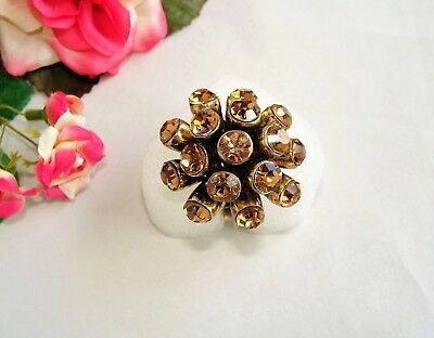 Funky! Big Vintage Goldtone & Champagne Rhinestone Burst Adjustable Ring!