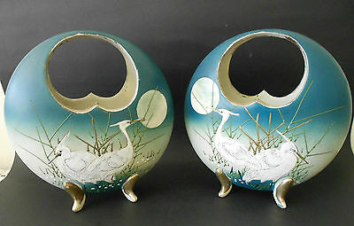 Pair Of Japanese Pottery Moon Disc Shaped Basket Vases With Cut Out Handles