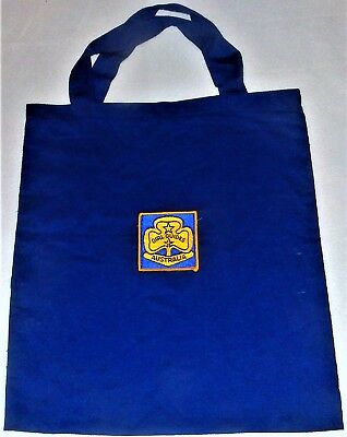GIRL GUIDES AUSTRALIA Blue Canvas Cloth Carry Shopping Tote BAG + PATCH BADGE