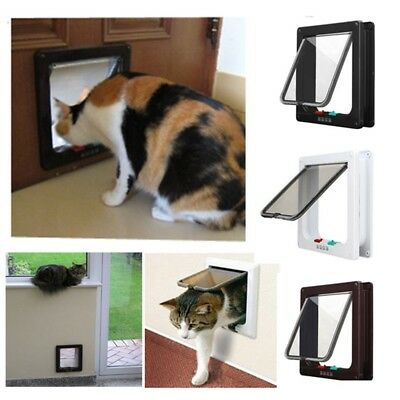 Pet Door 4 way Locking Lockable Small Medium Large Dog Cat Puppy Flap Door