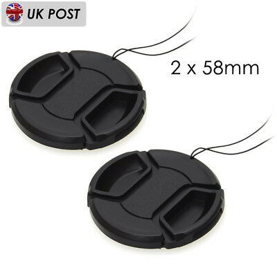 2Pcs 58mm Front Lens Cap Cover Snap-on For Canon Sony Nikon Olympus Cameras