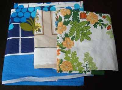 Lot of 3 Vintage tablecloths, Brightly coloured, Floral and geometric designs