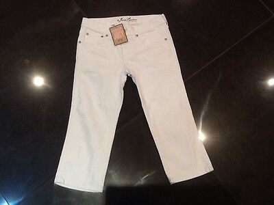 NWT Juicy Couture New Girls Age 8 White Cotton Cropped Trousers With Juicy Logo