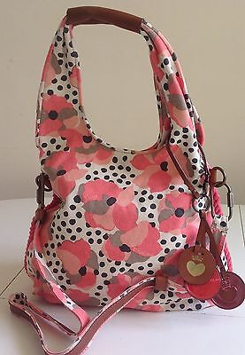 NWT Juicy Couture New Gen.Pink Canvas & Leather Summer Saddle Hobo Shoulder Bag