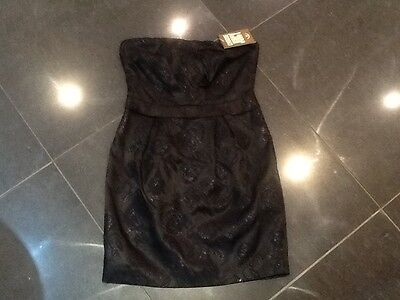 NWT Juicy Couture New Genuine Ladies Black Satin Evening Dress Small (UK 8/10)