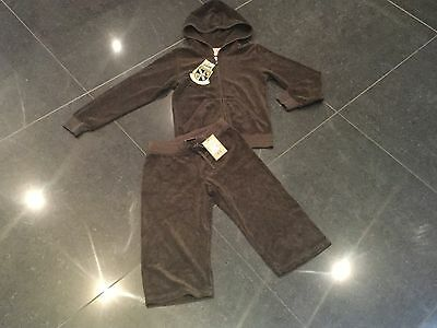 "NWT Juicy Couture New & Genuine Girls Age 8 Brown Cotton Tracksuit With ""J"" Pull"