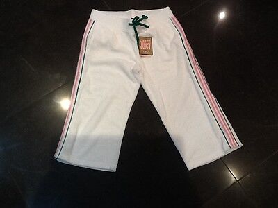 NWT Juicy Couture New White Pink Crop Leg Towelling Tracksuit Pants Girls Age 14