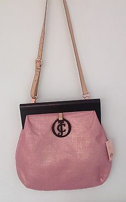 NWT Juicy Couture New Genuine Pink & Rose Gold Canvas Frame Bag & Leather Handle
