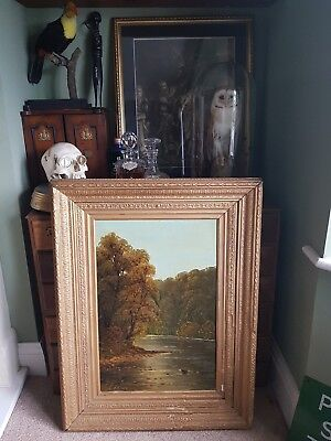 18th Century Large Antique Original fine Oil Painting Signed 1700s river ornate