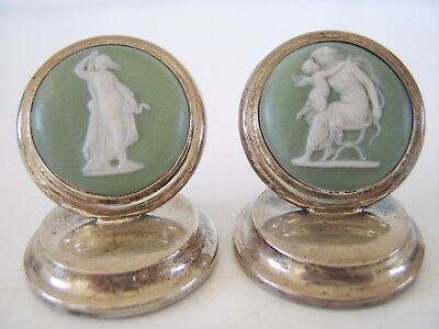 RARE PAIR WEDGWOOD STERLING SILVER menu holder CHESTER 1905 shagreen base