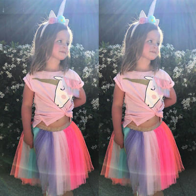 2Pcs Girls Kids Summer Unicorn Outfits T-shirt + Tulle Tutu Skirt Dress Set AU