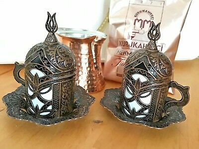 Turkish Coffee Set DARK COPPER Mugs Porcelain Cups Copper Cezve Pot Coffee Gift