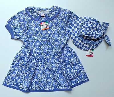 Gymboree L 3-4 NWT Vintage Blue Floral Dress Hat Set CC1-164