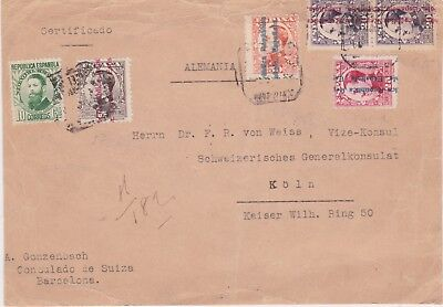 Spain-1931 Postage paid 130 cents on Barcelona registered letter to Germany