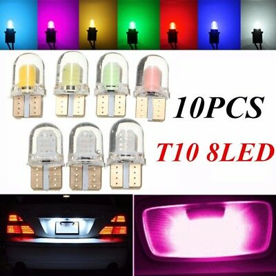 10/4x T10 194 168 W5W COB 8 SMD CANBUS Silicone LED Turn Side License Light Bulb