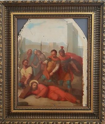 Stunning antique 1900 French Religious Fine Oil Painting Station Of The Cross