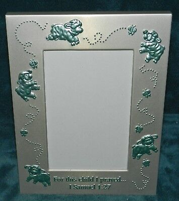 Adorable Aluminum Baby Picture Photo Frame! Blue Lambs/sheep 1 Sam 1:27