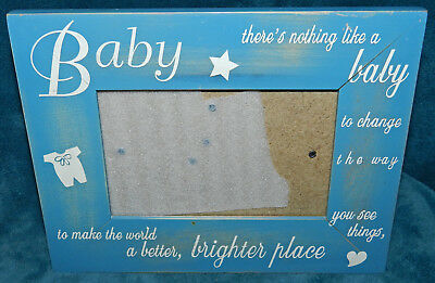 Adorable Distressed Wood Baby Picture Photo Frame! Blue