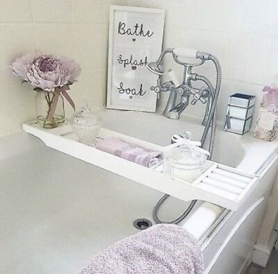 WOODEN WHITE BATH Rack Caddy Over The Bath Tray - £23.00 | PicClick UK