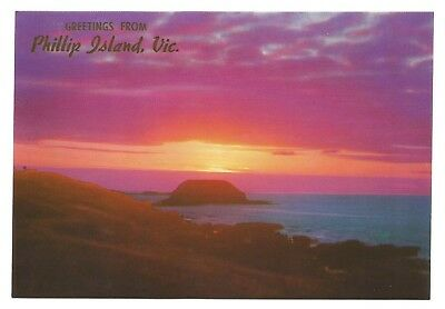 VIC - c1970s POSTCARD - SUNSET OVER THE NOBBIES, PHILLIP ISLAND, VICTORIA