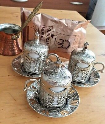 Turkish Coffee Set Silver Color Mugs Porcelain Cups Copper Cezve Pot Coffee Gift