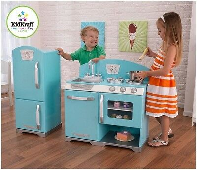 KIDS WOODEN PLAY Kitchen Toddler Toy Refrigerator Retro ...