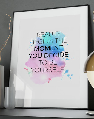 Coco Beauty Inspirational Quote Poster Art Print A3 A4 A5 A6 Decor Gift Vogue Be