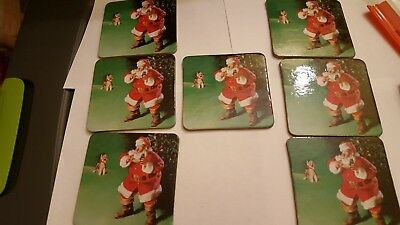 7 new COCA-COLA Santa Chirstmas Cork Back Coasters - Taiwan Made