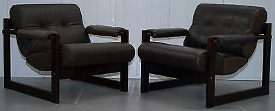 Pair Of Mid Century Brazilian Rosewood 1975 Percival Lafer Leather S1 Armchairs