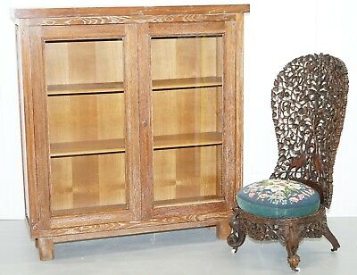 Stunning Original Limed Oak Art Deco Display Bookcase Cabinet Part Of Suite