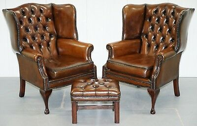 Pair Of Hand Dyed Cigar Brown Leather Chesterfield Wingback Armchairs & Stool