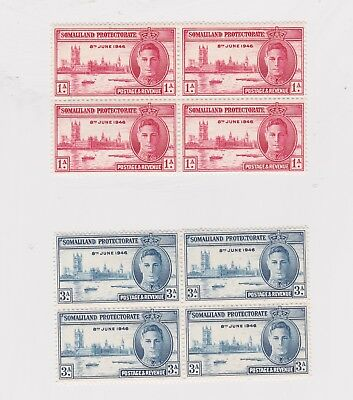 Somaliland Protectorate-1946 1 As red  3 As blue WW 2 Victory and Peace blocks