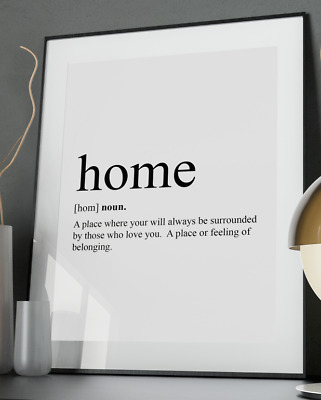 Home Inspirational Quote Poster Art Print A3 A4 A5 A6 Decor Gift Love Wife Kids