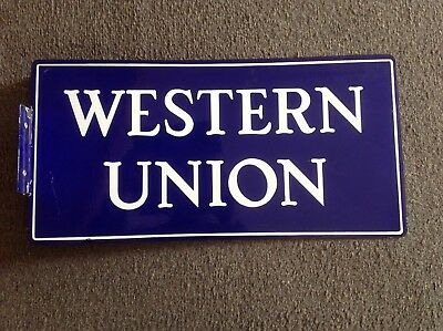 Western Union 2sided split flange porcelain sign excellent