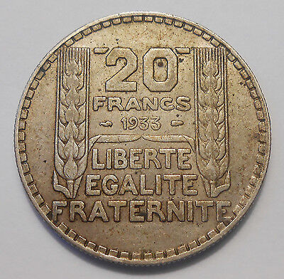 1933 France 20 Francs VF Very NICE Laureate Head French Crown LARGE SILVER Coin