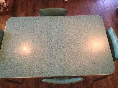 Original 1950's Light Blue Dining Table With 4 Chairs